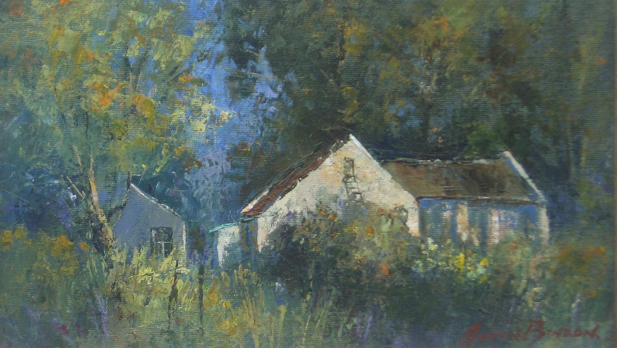 Anton Benzon, blue, green, house in the woods, oil painting, woods, palet knife, fine art, old master, old masters, anton, benzon, tree, trees, landscape, land, scape, mountain, mountains, anton benzon for sale, anton benzon south african art, south african artist, anton benzon best prices, anton benzon prices, anton benzon oil artist, art gallery, crouse art gallery, art dealers
